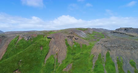 seltun : Aerial drone video of Iceland nature landscape. Reykjanes peninsula, South West Iceland.