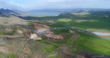 seltun : Aerial view of Iceland nature landscape geothermal field volcanic activity. Seltun geothermal field in Krysuvik on Reykjanes peninsula, South West Iceland. Stock Footage