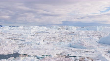 disko : Climate Change and Global Warming - Icebergs from melting glacier in icefjord in Ilulissat, Greenland. Image of arctic nature ice landscape Stock Footage