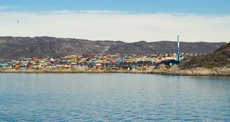 disko bay : Greenland view of Ilulissat City and icefjord. Tourist destination in the actic.
