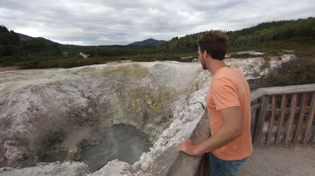 wai o tapu : New Zealand travel tourist sightseeing north island visiting famous attraction Waiotapu. Active geothermal area, Okataina Volcanic Centre, Reporoa, in Taupo Volcanic Zone, Rotorua. Stock Footage