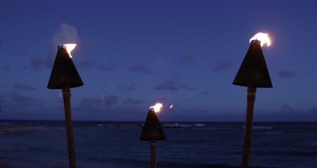 폴리네시아 : Hawaii sunset with lit tiki torches. Hawaiian icon, lights burning flames at dusk at beach resort or restaurants for outdoor lighting and decoration, cozy atmosphere.