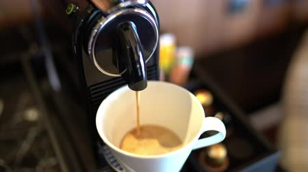 brew coffee : Espresso coffee machine with capsules or pods coffee brewing. Home coffee maker