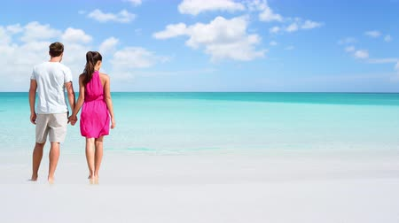 gif : CINEMAGRAPH - seamless loop: Beach couple looking at ocean view from behind. Unrecognizable couple standing on sand in dress and shorts holding hands relaxing on summer travel vacation destination.