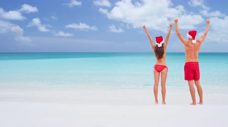 gif : CINEMAGRAPH - seamless loop: Christmas couple happy cheering arms raised winning celebrating on white sand beach on travel destination in winter holidays. Back view of young adults wearing santa hat.
