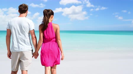 gif : CINEMAGRAPH - SEAMLESS LOOP: Summer holidays - couple on tropical beach vacation standing in white sand relaxing looking at ocean. Romantic young adults holding hands in love. Looping Motion photo Stock Footage