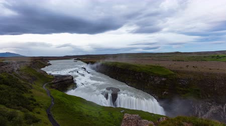 gullfoss : Iceland travel Gullfoss waterfall tourist attraction destination. Icelandic waterfalls, famous attraction on the Golden circle. AKA Golden Falls. Nature lansdcape in 4K UHD, 8K available.