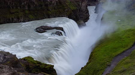gullfoss : Waterfall in Iceland. Waterfall Gullfoss travel tourist attraction destination. Icelandic waterfalls, famous attraction on the Golden circle. AKA Golden Falls. Nature lansdcape in 4K UHD. Stock Footage