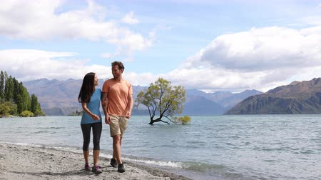 arquipélago : New Zealand tourists couple visiting Wanaka Lone Tree walking by lake. Happy young people traveling in summer adventure destination. Multiracial woman and man. Stock Footage