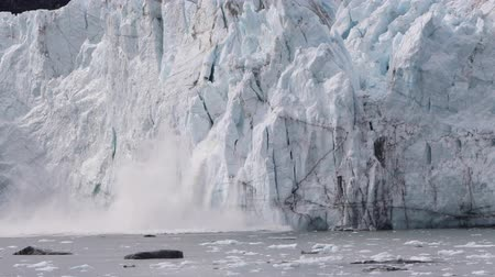 Glacier calving in Alaska. Glacier Bay Alaska cruise vacation travel. Global warming and climate change concept video with melting ice falling in water. landscape of Margerie Glacier. Стоковые видеозаписи