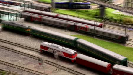 locomotiva : Moscow, RF - 03.17.2019: Railway Museum in Moscow. Small models of locomotives travel by rail. Layout of the railway station. All parts are moving.