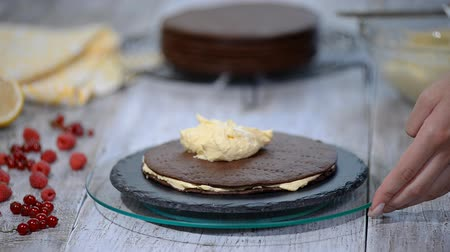 foodstuff : Chocolate honey layer cake Medovik. Professional confectioner making delicious cake