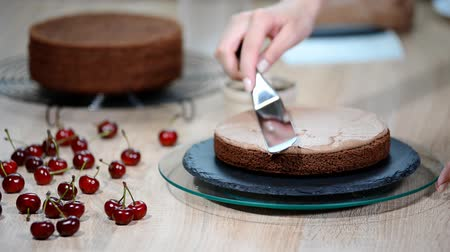 produtos lácteos : Unrecognizable female pastry cook squeezing chocolate cream on appetizing layer cake in kitchen. Vídeos
