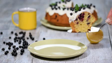tray : Delicate delicious cake with black currant. Stock Footage