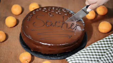 абрикосы : A woman is cutting a chocolate Sacher cake. Стоковые видеозаписи