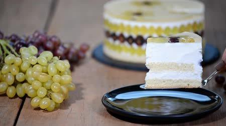 souffle : Piece homemade mousse cake with grapes.