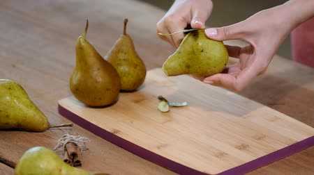 rind : Peeling pears. Making Chocolate Pear Pie.