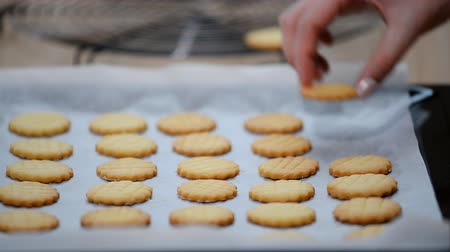 песочное печенье : Freshed Baked butter shortbread Cookies coming out of the Oven.