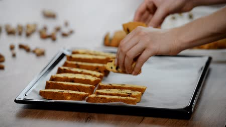 kızılcık : Italian cranberry almond biscotti on a baking tray. Stok Video