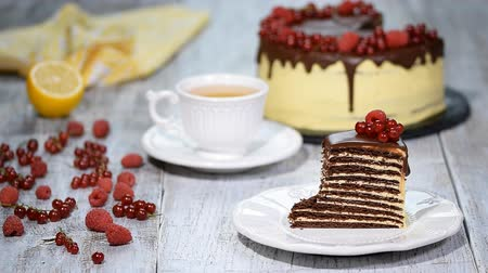 fondán : Slice of chocolate layer cake with berries and chocolate sauce. Dostupné videozáznamy