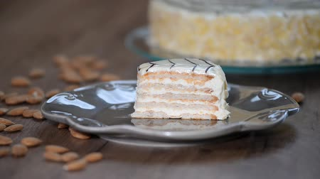 венгерский : Classic esterhazy cake in the plate.