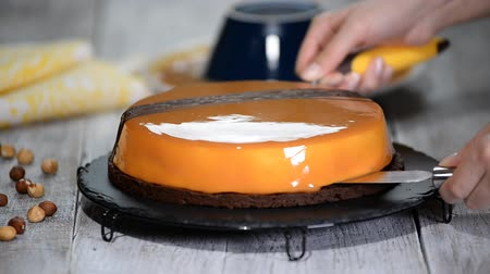 hazelnuts : Step by step. Making mousse cake with caramel mirror glaze. Series