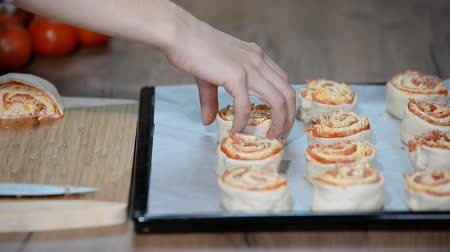 salame : Cooking homemade Italian pizza roll on the wood table and chef.