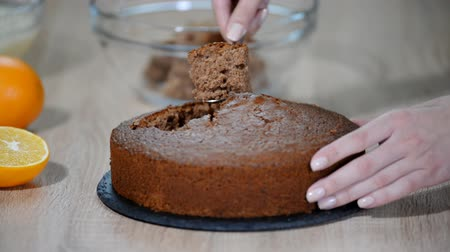 домовой : Woman making at home Mink Mole Hole Cake.