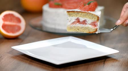 exotic dishes : A piece of homemade grapefruit cake. Stock Footage
