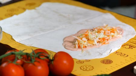 savanyúság : Making a shawarma or doner kebab with chicken meat and vegetables, wrapping in flat bread. Preparation of lavash to shawarma.