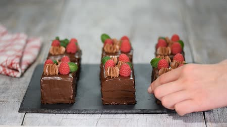 karbonhidratlar : Chocolate cakes with fresh raspberry and mint level. Stok Video