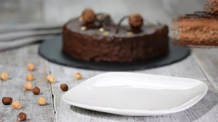 hazelnuts : Piece of chocolate mousse cake with hazelnut.
