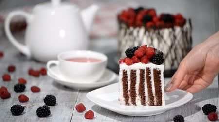 szorítás : Trendy rustic vertical roll high cake with chocolate, vanilla cream and berries.