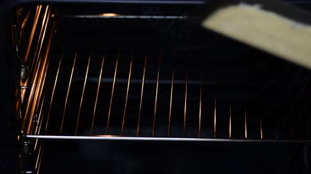 baking dishes : Woman hands putting pound cake for baking into the oven