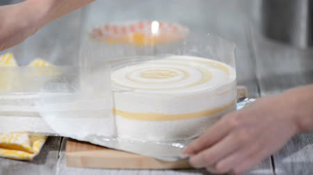souffle : Peach mousse cake with acetate sheet. Stock Footage