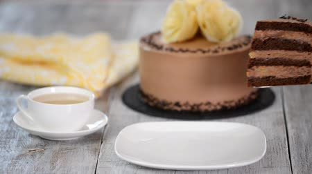 grated : Piece of chocolate banana cake