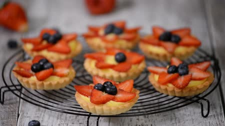 tartlet : Beautiful delicious summer tartlets with fresh custard creamy filling topped with strawberry and blueberry