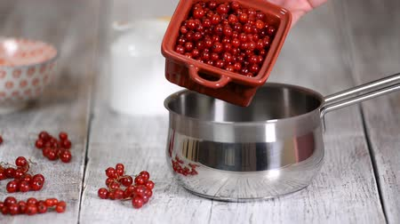 squeezer : Cooking Red Currant Jelly from red currants. Sweet natural homemade sugar dessert. Stock Footage