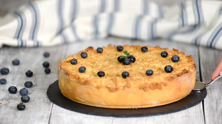чизкейк : The yummy blueberry Cheesecake, Pie. Стоковые видеозаписи