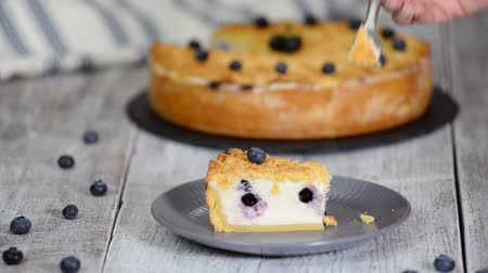 blueberry cheesecake : Woman eating yummy Cheesecake with blueberries. Stock Footage