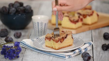 migalhas : Piece Of Plum Pie With Crumble. Stock Footage