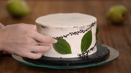 prim : Girl confectioner decorates chocolate cake. The concept of homemade pastry, cooking cakes. Stok Video
