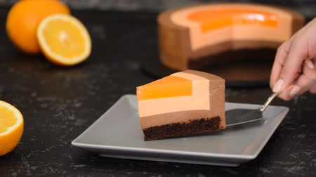 tarta de queso : Piece of Orange Chocolate Mousse Cake.