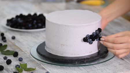 blueberry cheesecake : Confectioner decorates a beautiful cake with blueberries and blackberries.