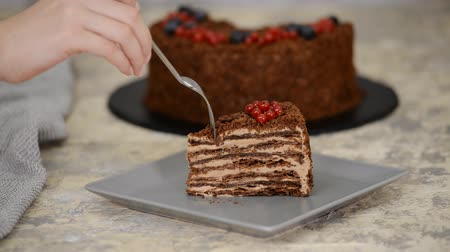 сладость : Piece of French Chocolate Napoleon cake of puff pastry with berries on a plate close-up. Eating chocolate cake. Стоковые видеозаписи
