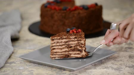 сладость : French Chocolate Napoleon cake of puff pastry with berries on a plate close-up. Стоковые видеозаписи