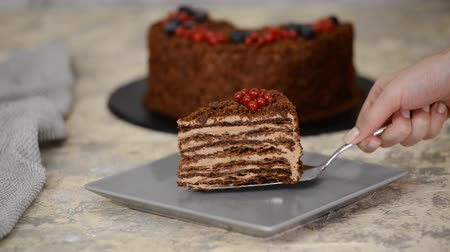 blackberry : French Chocolate Napoleon cake of puff pastry with berries on a plate close-up. Stock Footage
