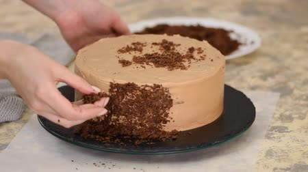 baked pudding : Sprinkling chocolate cake with crumbs. Covering Napoleon cake with crumbs. The process of cooking, recipe desserts.
