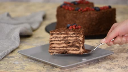 bafat : French Chocolate Napoleon cake of puff pastry with berries on a plate close-up. Dostupné videozáznamy