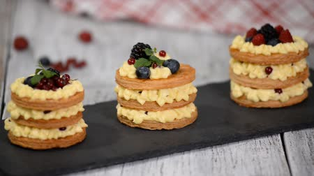 napoleone : French dessert millefeuille of puff pastry and custard cream.